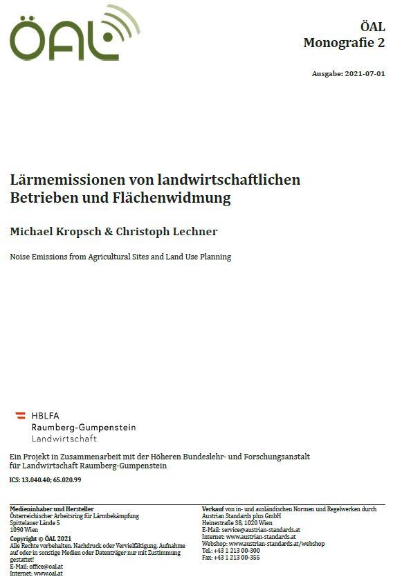 Titelblatt der ÖAL Monografie 2, Lärmemissionen von landwirtschaftlichen Betrieben und Flächenwidmung, Ausgabe 2021-07-01